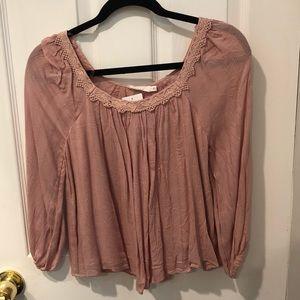 Pink/mauve lace top